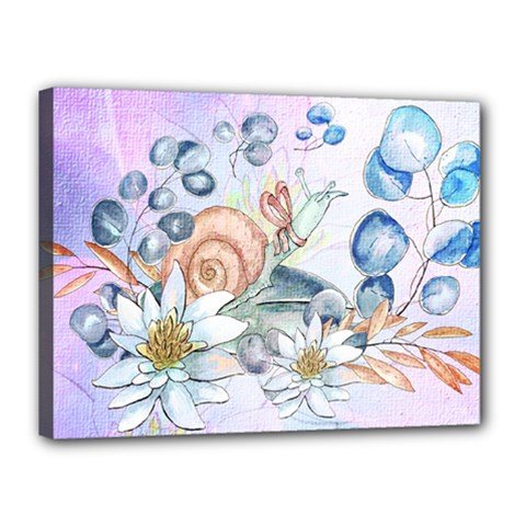 Snail And Waterlily, Watercolor Canvas 16  X 12  by FantasyWorld7