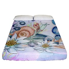 Snail And Waterlily, Watercolor Fitted Sheet (queen Size) by FantasyWorld7