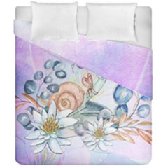 Snail And Waterlily, Watercolor Duvet Cover Double Side (california King Size) by FantasyWorld7