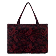Dark Red Flourish Medium Tote Bag by gatterwe