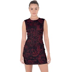 Dark Red Flourish Lace Up Front Bodycon Dress