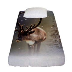 Santa Claus Reindeer In The Snow Fitted Sheet (single Size) by gatterwe