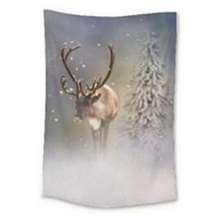 Santa Claus Reindeer In The Snow Large Tapestry by gatterwe