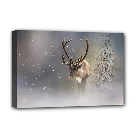 Santa Claus Reindeer In The Snow Deluxe Canvas 18  X 12  (stretched) by gatterwe