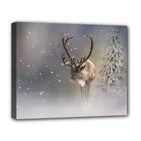 Santa Claus Reindeer In The Snow Deluxe Canvas 20  X 16  (stretched) by gatterwe