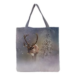 Santa Claus Reindeer In The Snow Grocery Tote Bag by gatterwe