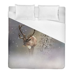 Santa Claus Reindeer In The Snow Duvet Cover (full/ Double Size) by gatterwe