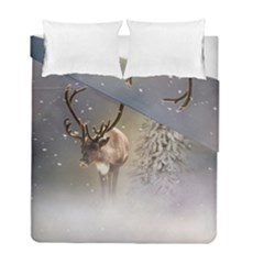 Santa Claus Reindeer In The Snow Duvet Cover Double Side (full/ Double Size) by gatterwe