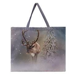 Santa Claus Reindeer In The Snow Zipper Large Tote Bag by gatterwe
