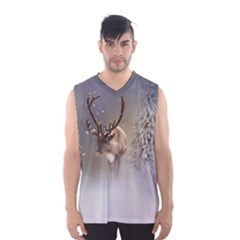 Santa Claus Reindeer In The Snow Men s Basketball Tank Top by gatterwe