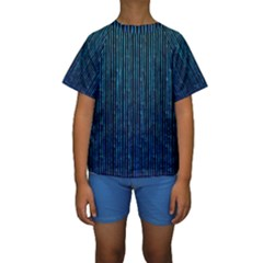 Stylish Abstract Blue Strips Kids  Short Sleeve Swimwear by gatterwe