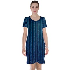 Stylish Abstract Blue Strips Short Sleeve Nightdress by gatterwe