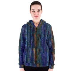 Stylish Colorful Strips Women s Zipper Hoodie by gatterwe