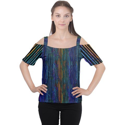 Stylish Colorful Strips Cutout Shoulder Tee by gatterwe