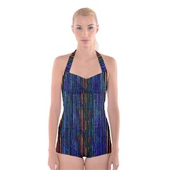 Stylish Colorful Strips Boyleg Halter Swimsuit  by gatterwe