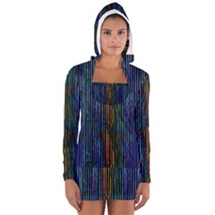 Stylish Colorful Strips Long Sleeve Hooded T-shirt by gatterwe