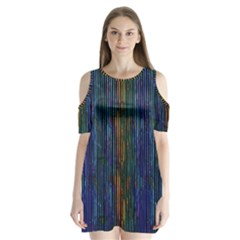 Stylish Colorful Strips Shoulder Cutout Velvet  One Piece by gatterwe
