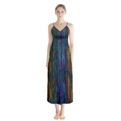 Stylish Colorful Strips Button Up Chiffon Maxi Dress by gatterwe