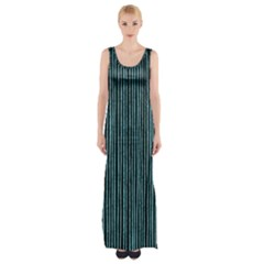 Stylish Frost Blue Strips Maxi Thigh Split Dress by gatterwe