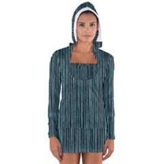Stylish Frost Blue Strips Long Sleeve Hooded T-shirt by gatterwe