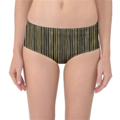 Stylish Golden Strips Mid-waist Bikini Bottoms by gatterwe