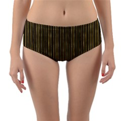 Stylish Golden Strips Reversible Mid-waist Bikini Bottoms by gatterwe
