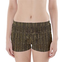 Stylish Golden Strips Boyleg Bikini Wrap Bottoms by gatterwe