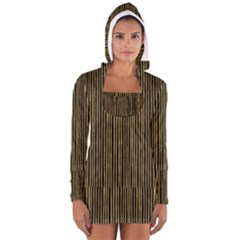 Stylish Golden Strips Long Sleeve Hooded T-shirt by gatterwe