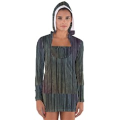 Stylish Rainbow Strips Long Sleeve Hooded T-shirt by gatterwe