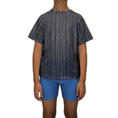 Stylish Silver Strips Kids  Short Sleeve Swimwear by gatterwe