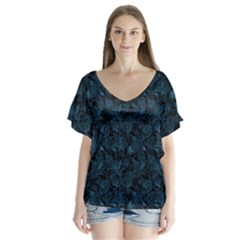 Blue Flower Glitter Look V-neck Flutter Sleeve Top by gatterwe