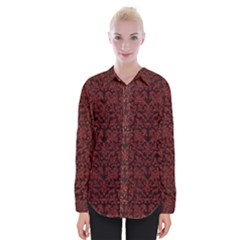 Red Glitter Look Floral Womens Long Sleeve Shirt