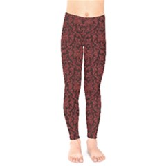 Red Glitter Look Floral Kids  Legging by gatterwe