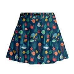 Fish Turtle Jellyfish Art Texture Mini Flare Skirt