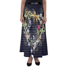 Heart Flowers Patterns Dark Bright  Flared Maxi Skirt