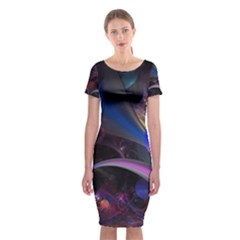Fractal Line Oiled Flowers Bloom Multicolored  Classic Short Sleeve Midi Dress