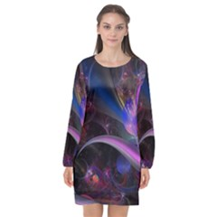 Fractal Line Oiled Flowers Bloom Multicolored  Long Sleeve Chiffon Shift Dress