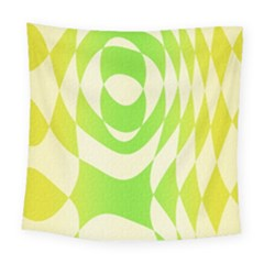 Green Shapes Canvas                             Square Tapestry by LalyLauraFLM