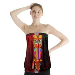 Cute Owl, Mandala Design Strapless Top by FantasyWorld7