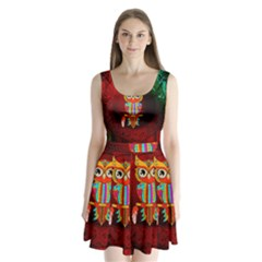 Cute Owl, Mandala Design Split Back Mini Dress  by FantasyWorld7