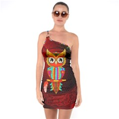 Cute Owl, Mandala Design One Soulder Bodycon Dress by FantasyWorld7