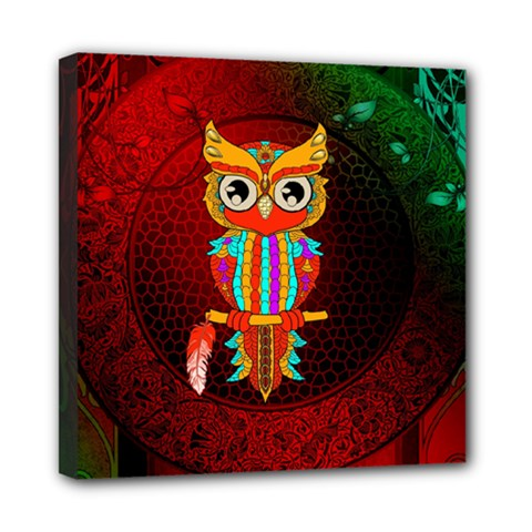 Cute Owl, Mandala Design Mini Canvas 8  X 8  by FantasyWorld7