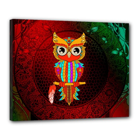Cute Owl, Mandala Design Canvas 20  X 16  by FantasyWorld7