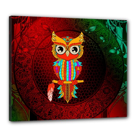 Cute Owl, Mandala Design Canvas 24  X 20  by FantasyWorld7