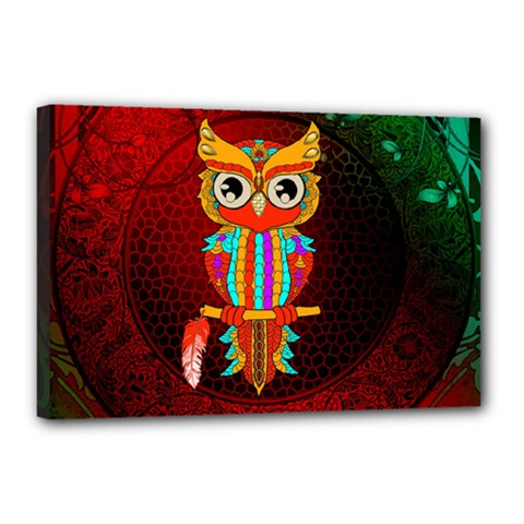 Cute Owl, Mandala Design Canvas 18  X 12  by FantasyWorld7