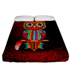 Cute Owl, Mandala Design Fitted Sheet (queen Size) by FantasyWorld7