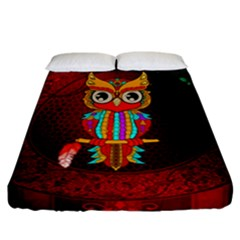 Cute Owl, Mandala Design Fitted Sheet (california King Size) by FantasyWorld7
