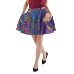 Vector Woman Purple Flowers A Line Pocket Skirt by amphoto