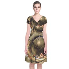 Steampunk Lady  In The Night With Moons Short Sleeve Front Wrap Dress