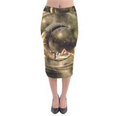 Steampunk Lady  In The Night With Moons Velvet Midi Pencil Skirt